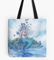 Blue Morpho Butterfly Mermaid Tote Bag
