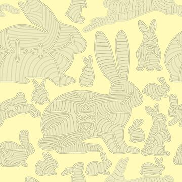 Monochrome seamless pattern with bunnies in lines by staselnik