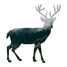 Buck Deer with Misty Evergreen Forest Woods Silhouette - Spirit of the Wild .  by VisionQuestArts