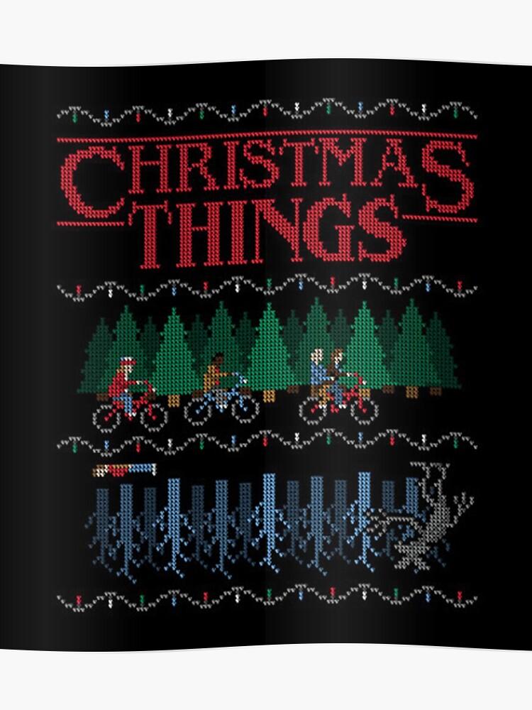 Stranger Things Christmas Sweater.Stranger Things Ugly Christmas Sweater Style Poster