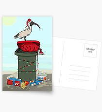 Bin Chicken Hits The Beach for Xmas Postcards