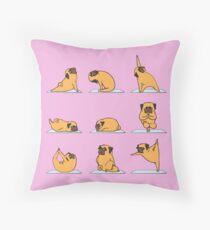 Pug Yoga // Pink  Throw Pillow