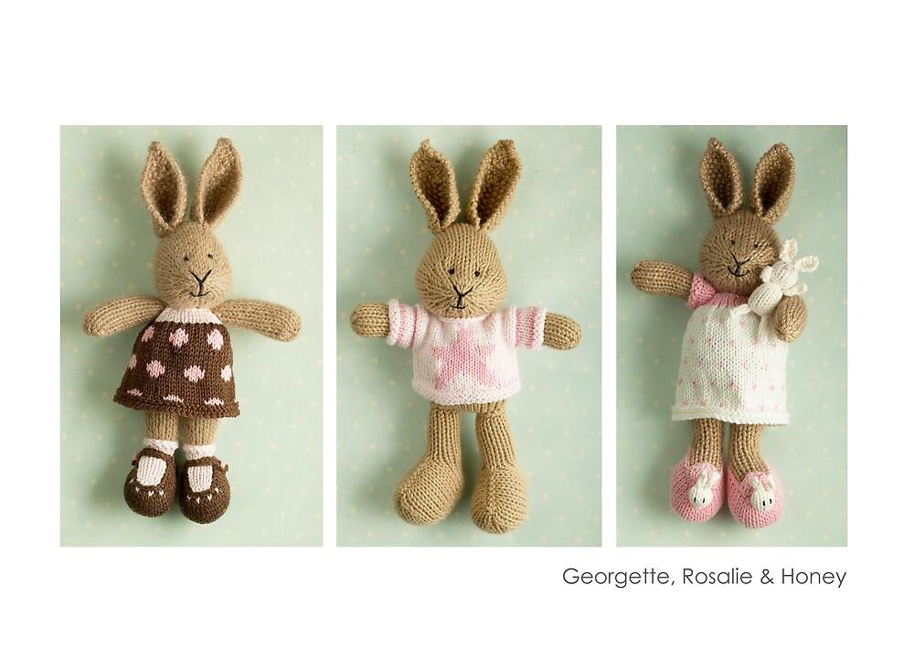 pink & brown bunnies by bunnyknitter
