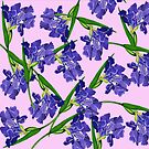 Watercolour Iris Pink Background Pattern by marlene veronique holdsworth