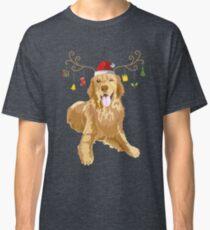Golden Retriever Ugly Xmas Sweater Antler Dog Lover Classic T-Shirt