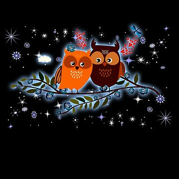 2 Owls Are In Love Cute Owl Lover Christmas Gift T Shirt by WelderSurgeon