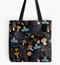 dark wild forest mushrooms Tote Bag