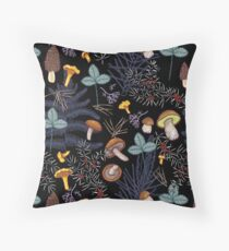 dark wild forest mushrooms Throw Pillow
