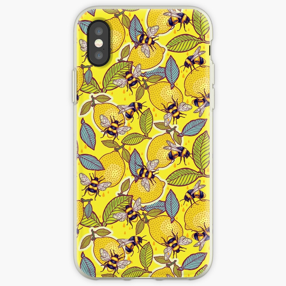 Yellow lemon and bee garden. iPhone Case & Cover