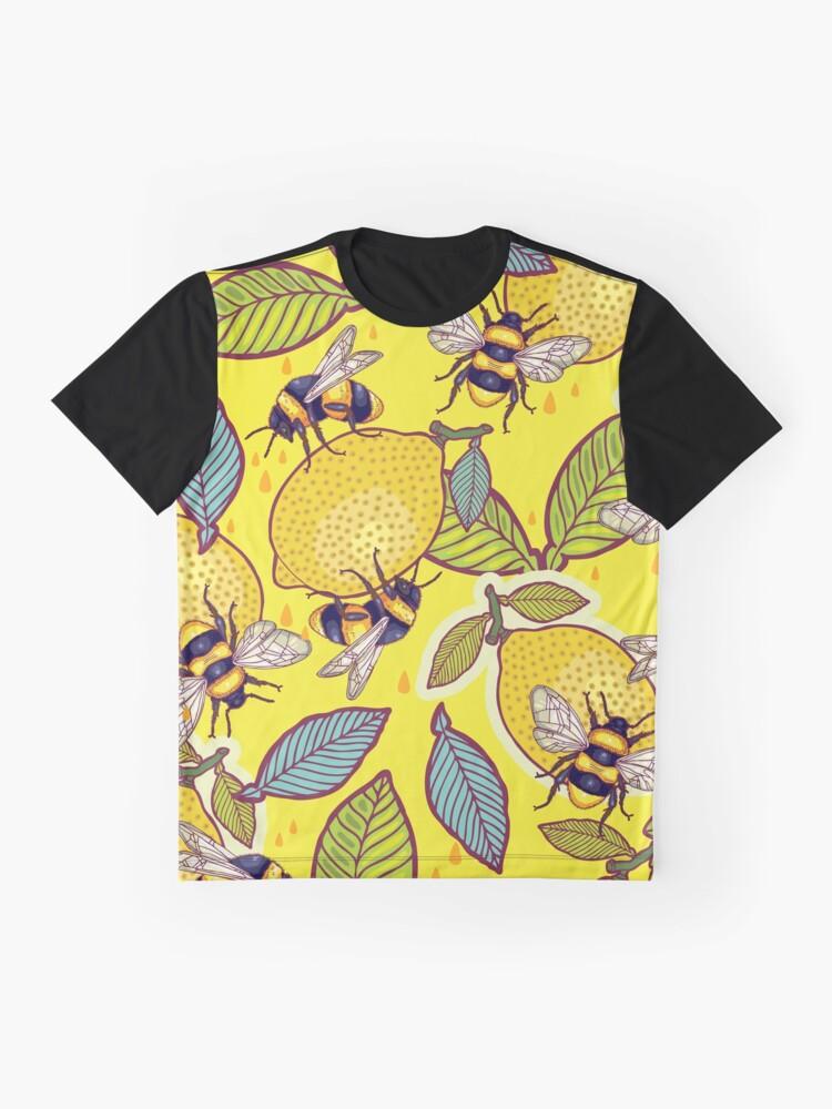 Alternate view of Yellow lemon and bee garden. Graphic T-Shirt