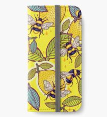 Yellow lemon and bee garden. iPhone Wallet/Case/Skin