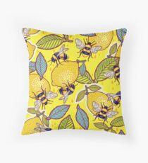 Yellow lemon and bee garden. Throw Pillow