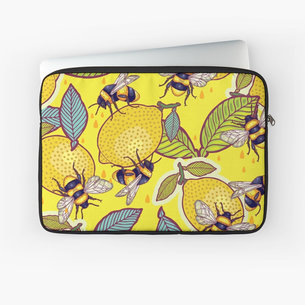 Yellow lemon and bee garden. Laptop Sleeve