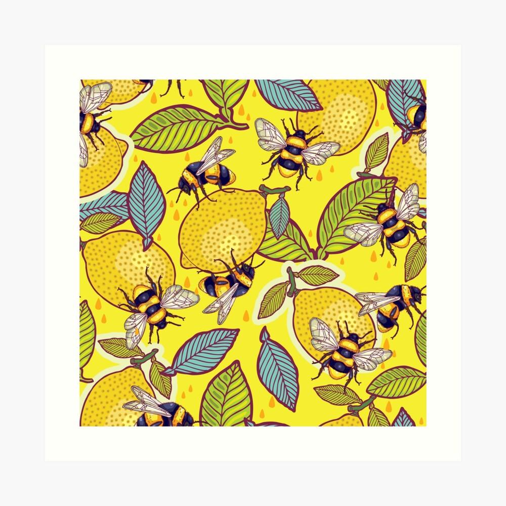 Amarillo limón y jardín de abejas. Lámina artística