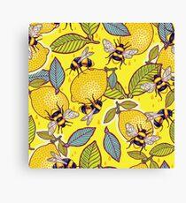 Yellow lemon and bee garden. Canvas Print