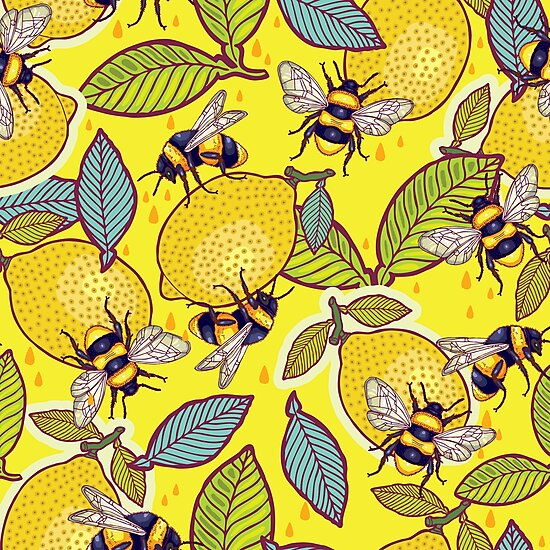 Yellow lemon and bee garden. by smalldrawing