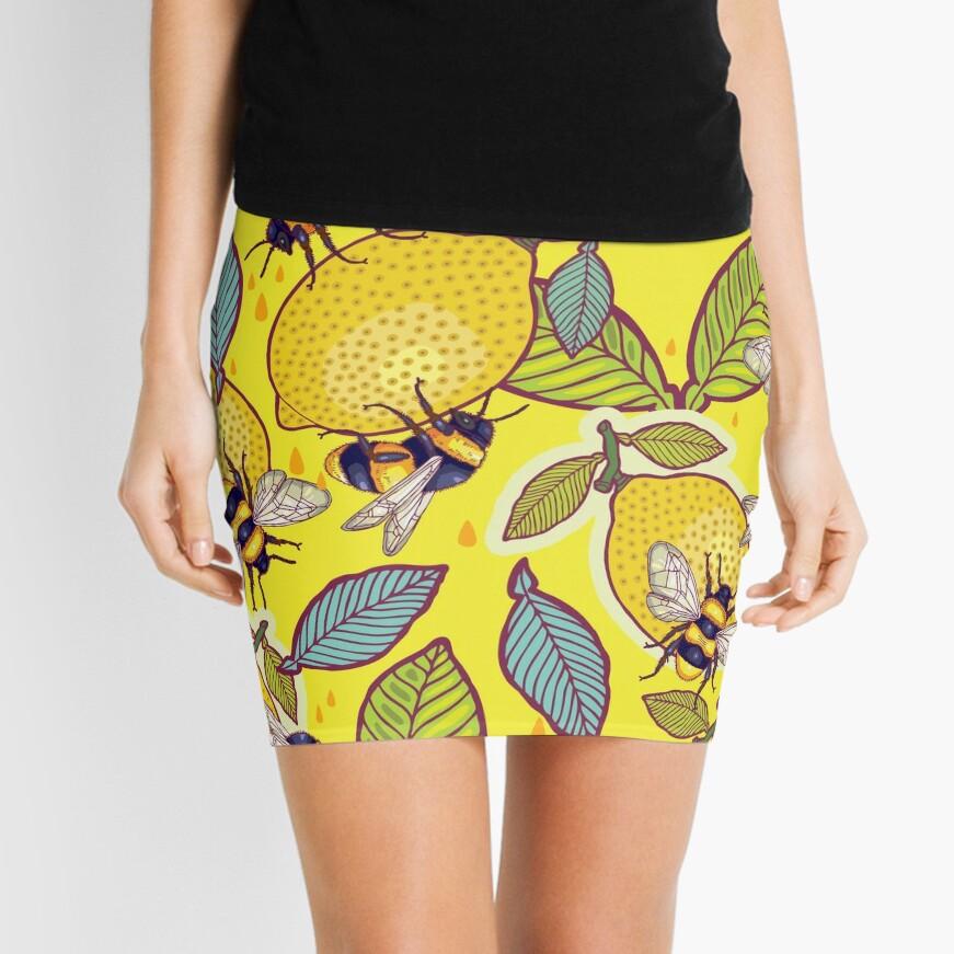 Yellow lemon and bee garden. Mini Skirt