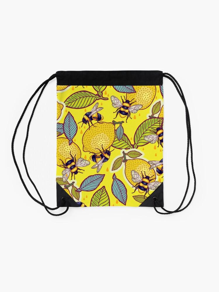 Alternate view of Yellow lemon and bee garden. Drawstring Bag