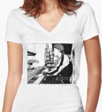 Genius Lab inktober Women's Fitted V-Neck T-Shirt