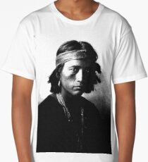 Native American Indian Portrait Profile Series -Navajo youth Poster Long T-Shirt