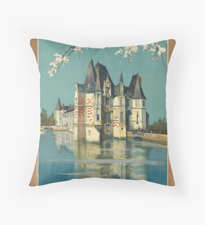 Normandy France Vintage Travel Advertisement Art Poster Throw Pillow