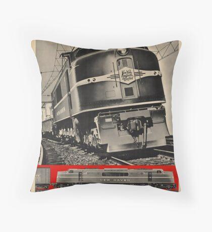 Electric Train Vintage Travel Advertisement Art Poster Throw Pillow