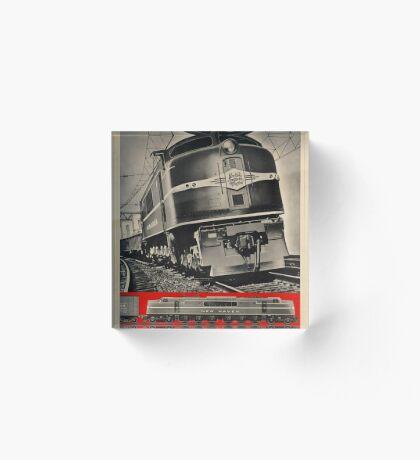Electric Train Vintage Travel Advertisement Art Poster Acrylic Block
