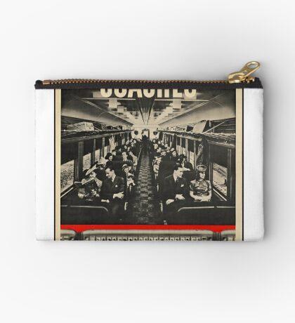 Train Coach Vintage Travel Advertisement Art Poster Zipper Pouch