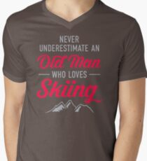 Never Underestimate An Old Man Who Loves Skiing DI504 New Product Men's V-Neck T-Shirt