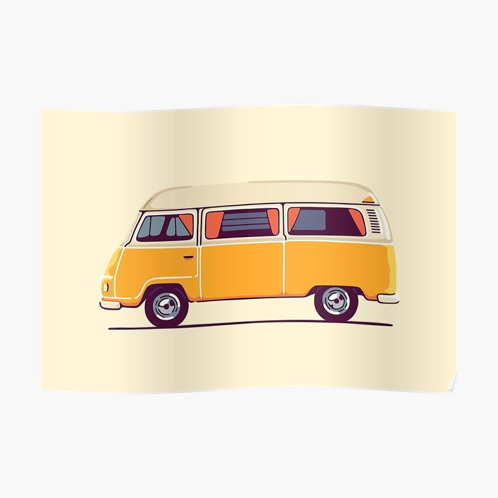 Vintage Hippie Camping Van Poster