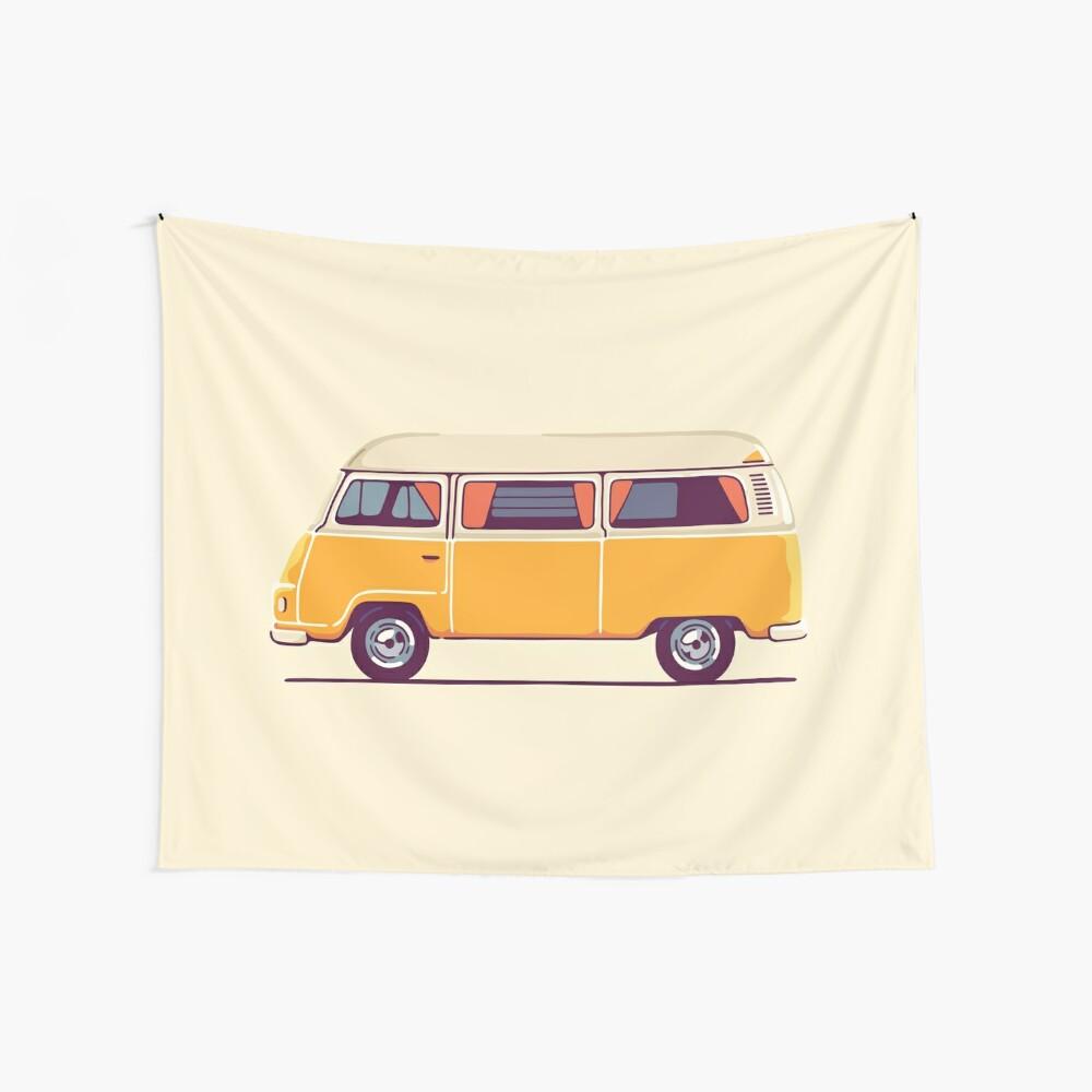 Vintage Hippie Camping Van Wandbehang