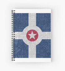 Indianapolis City Flag/Map Spiral Notebook