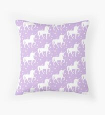 Purple Violet Unicorn Pattern Throw Pillow