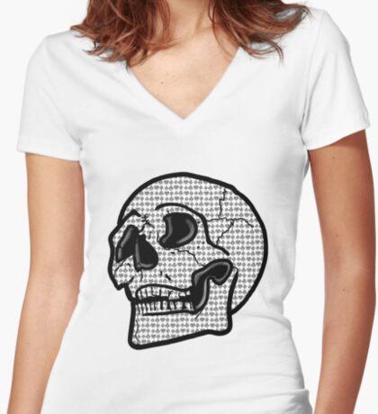 Poker Skull Fitted V-Neck T-Shirt