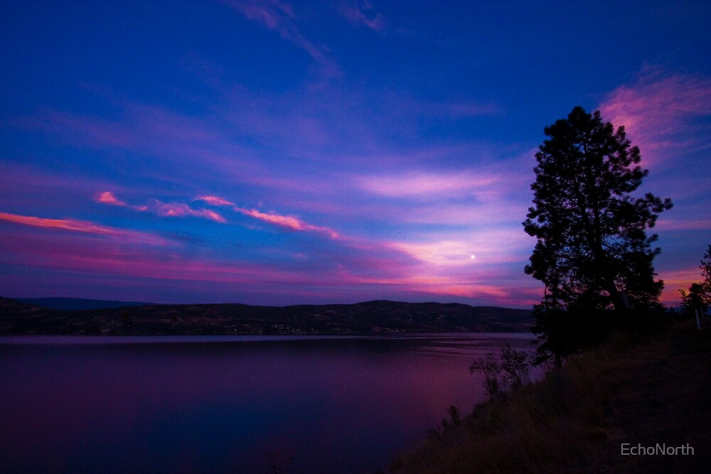 Moonrise over the Okanagan by EchoNorth