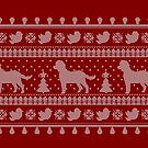 Ugly Christmas sweater dog edition - Poodle red by Camilla Mikaela Häggblom