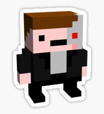 Arnie Terminator Blocky Parody Sticker