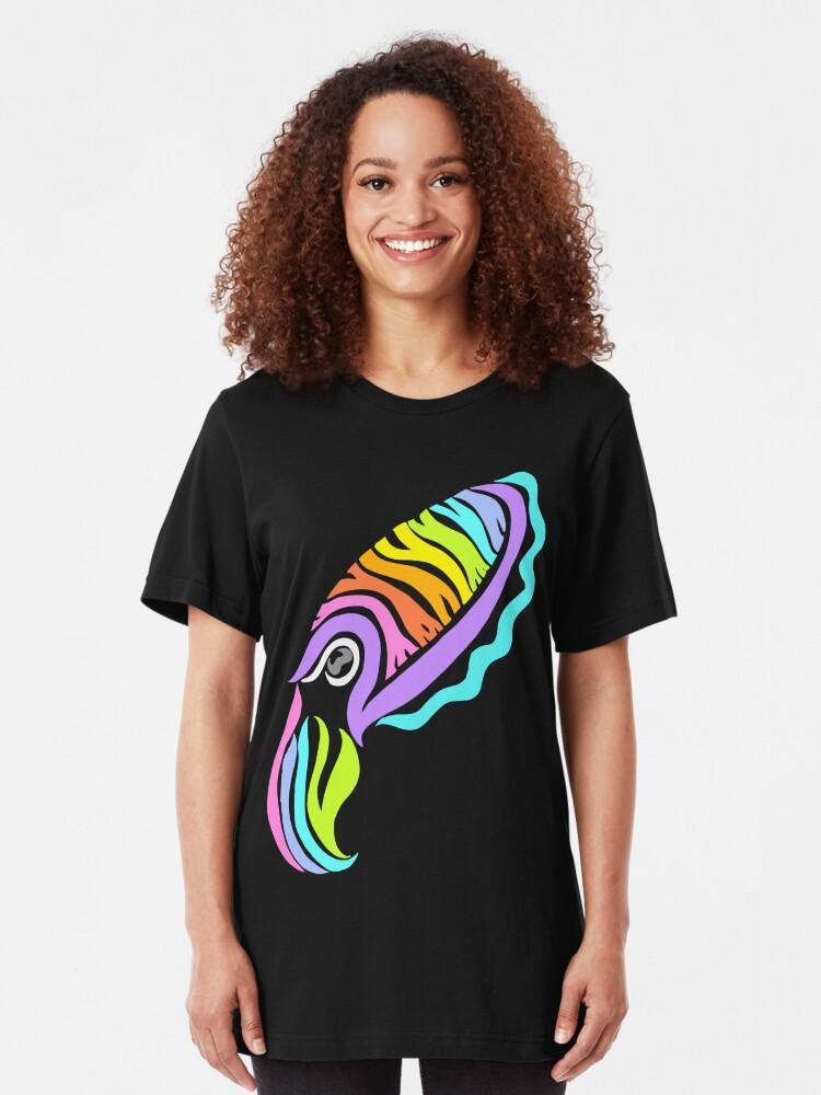 Alternate view of Deep-sea Neon - Tribalish Cuttlefish Slim Fit T-Shirt