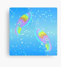 Deep-sea Neon - Tribalish Cuttlefish Metal Print