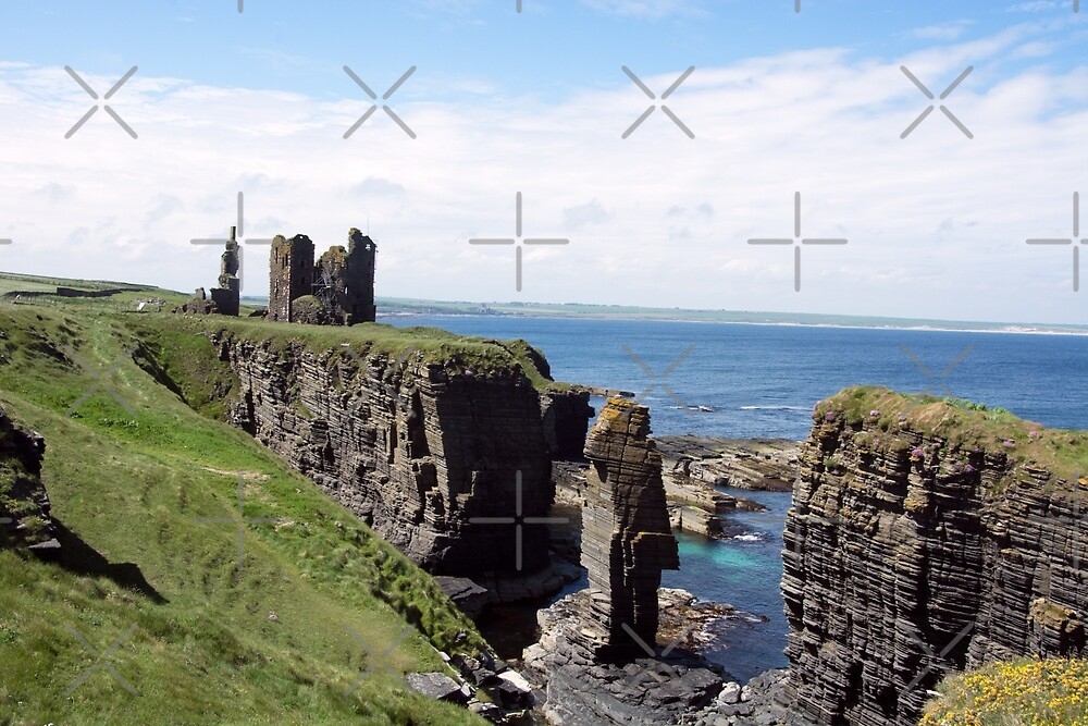 Seastacks and Ruined Castle by SiobhanFraser