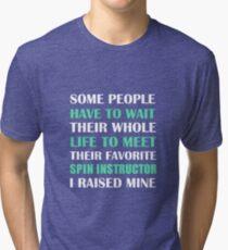 Spin Instructor I Raised Mine Mom Dad Parent Tri-blend T-Shirt