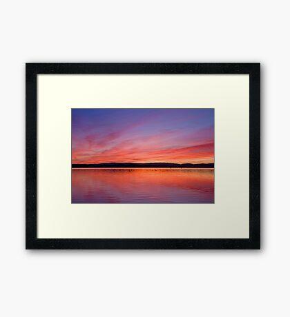 Firey lake sunset Framed Print