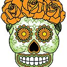 Yellow Rose Sugar Skull by Lisa Vollrath