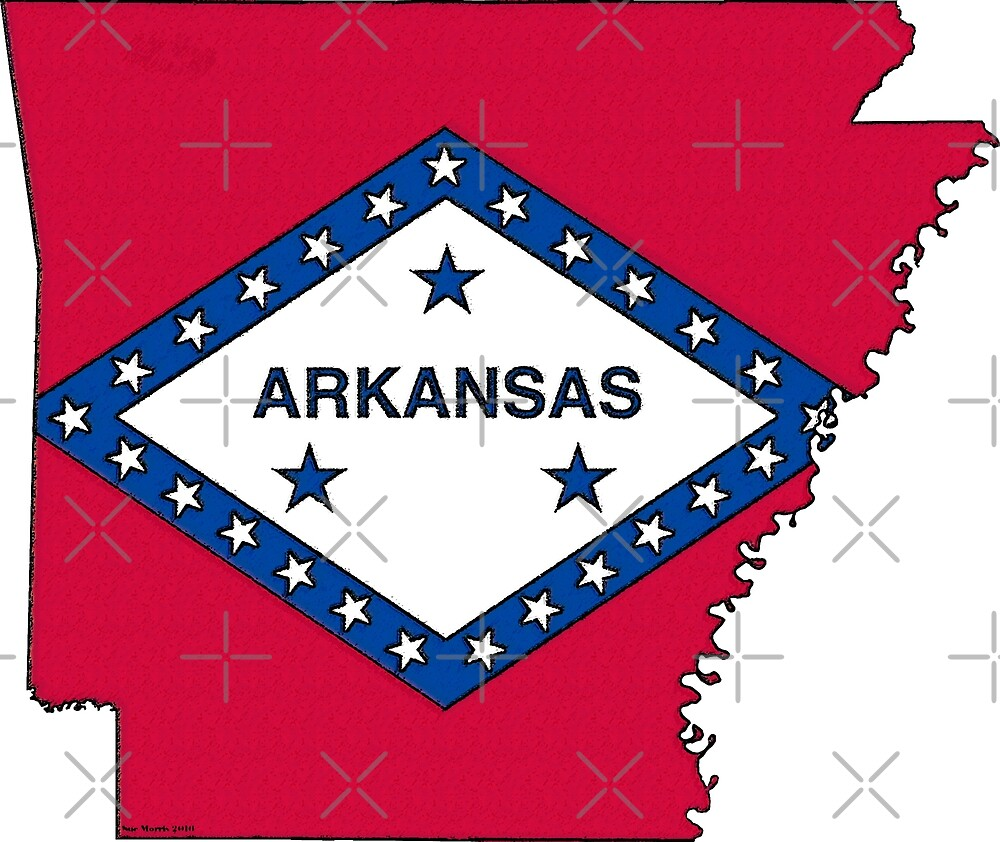 Arkansas Map With Arkansas State Flag by Havocgirl