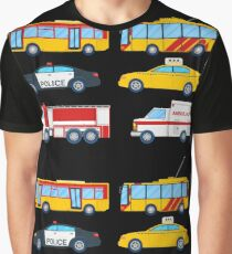 City Transportation Set with Bus, Trolley and Taxi.  Graphic T-Shirt