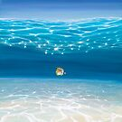 Solo in the Turquoise Sea - an Underwater Seascape with threadfin butterfly fish by Gill Bustamante