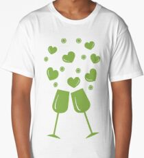 Cute vector illustration of two stemware with hearts. Greeting card Valentine's Day. Long T-Shirt