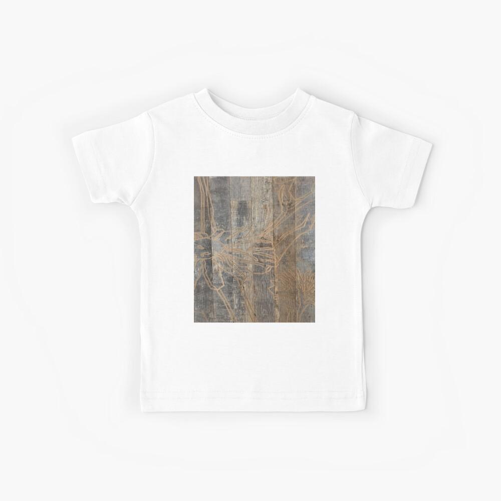 wunderliche Gänseblümchenblume graviertes Holz barnwood Kinder T-Shirt