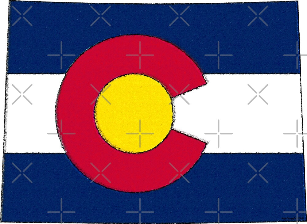 Colorado Map With Colorado State Flag by Havocgirl