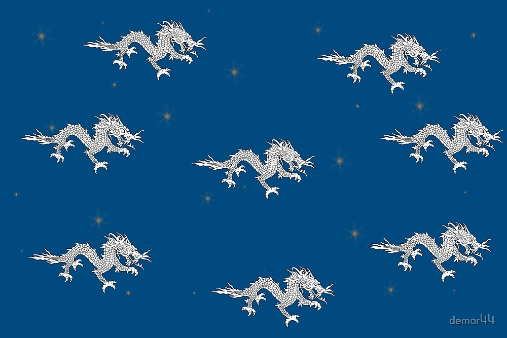 Dragon on blue with stars by demor44
